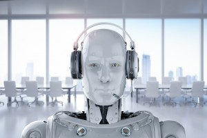 3d rendering humanoid robot with headset in office on white background